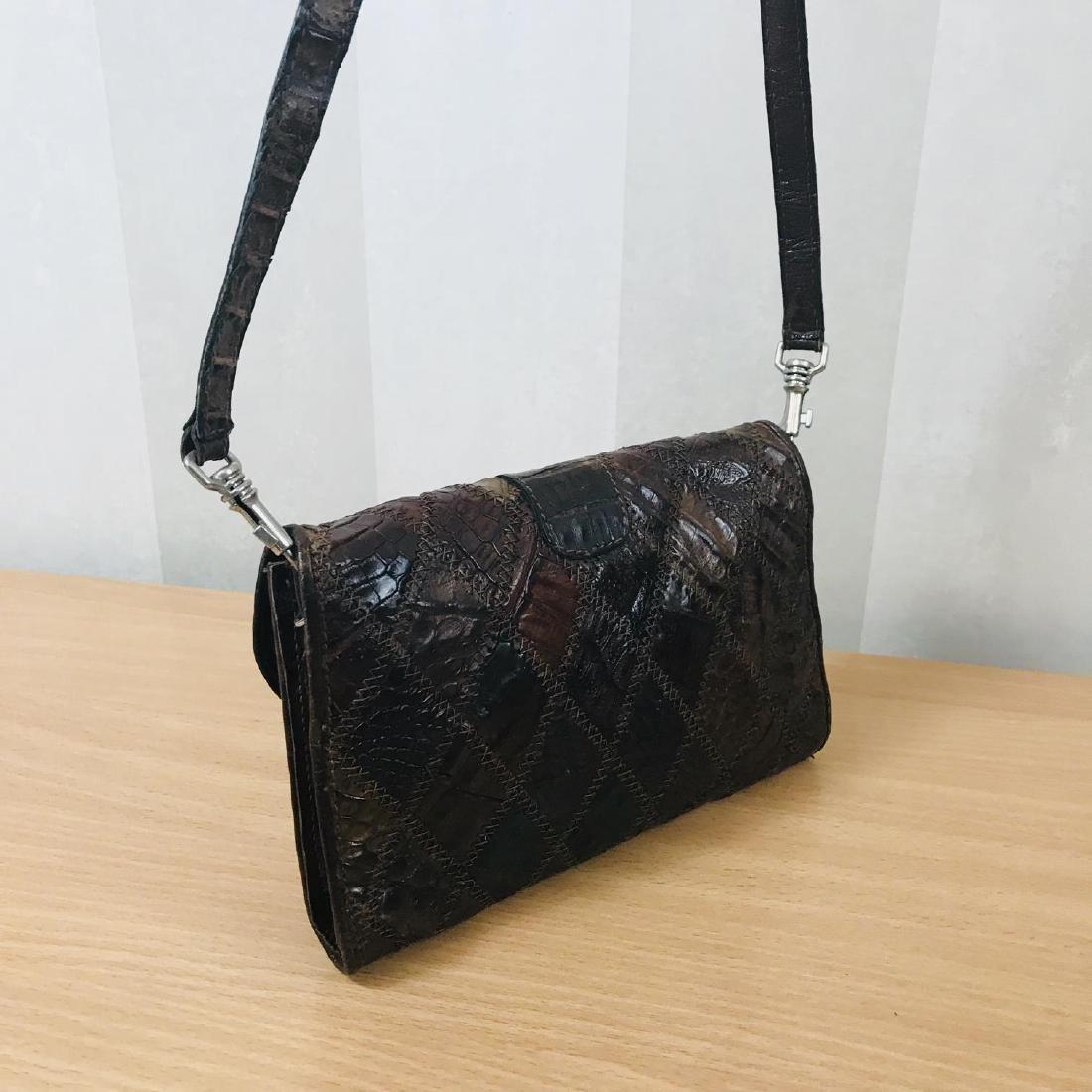 Vintage Brown Crocodile Leather Small Shoulder Bag - 5