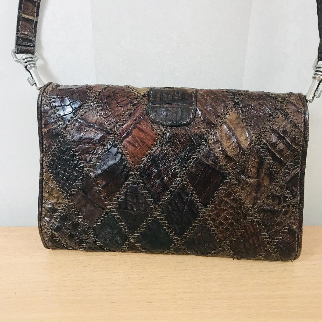 Vintage Brown Crocodile Leather Small Shoulder Bag - 6