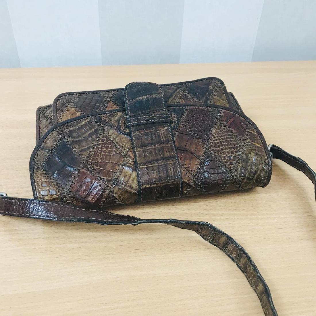 Vintage Brown Crocodile Leather Small Shoulder Bag - 7