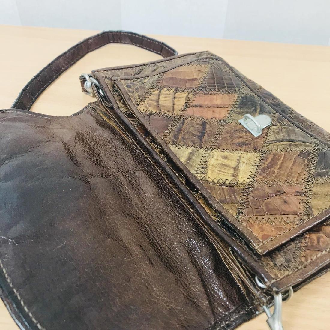 Vintage Brown Crocodile Leather Small Shoulder Bag - 8