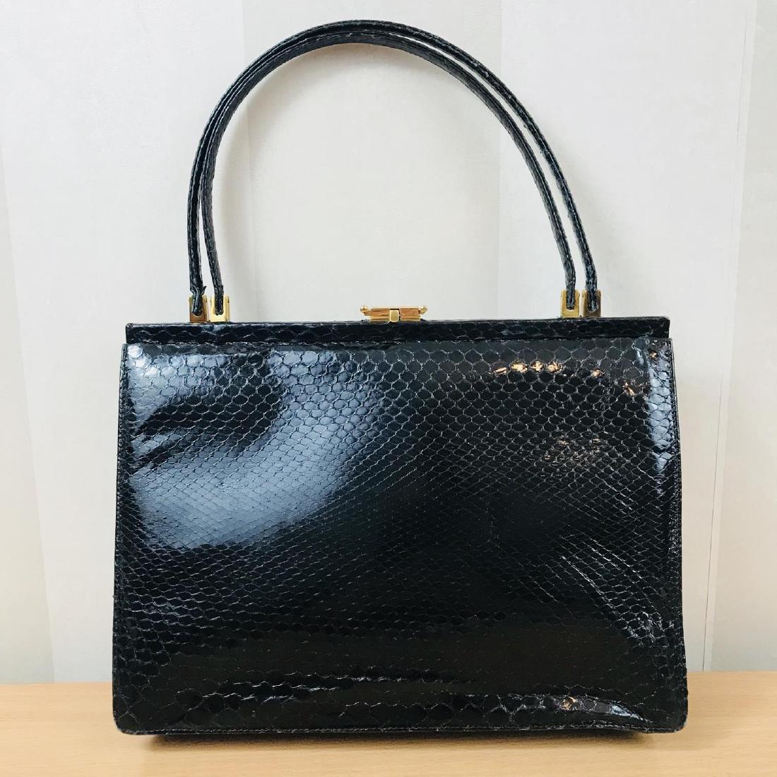 Vintage Black Snakeskin Leather Handbag