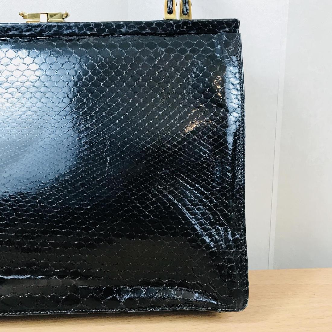 Vintage Black Snakeskin Leather Handbag - 2