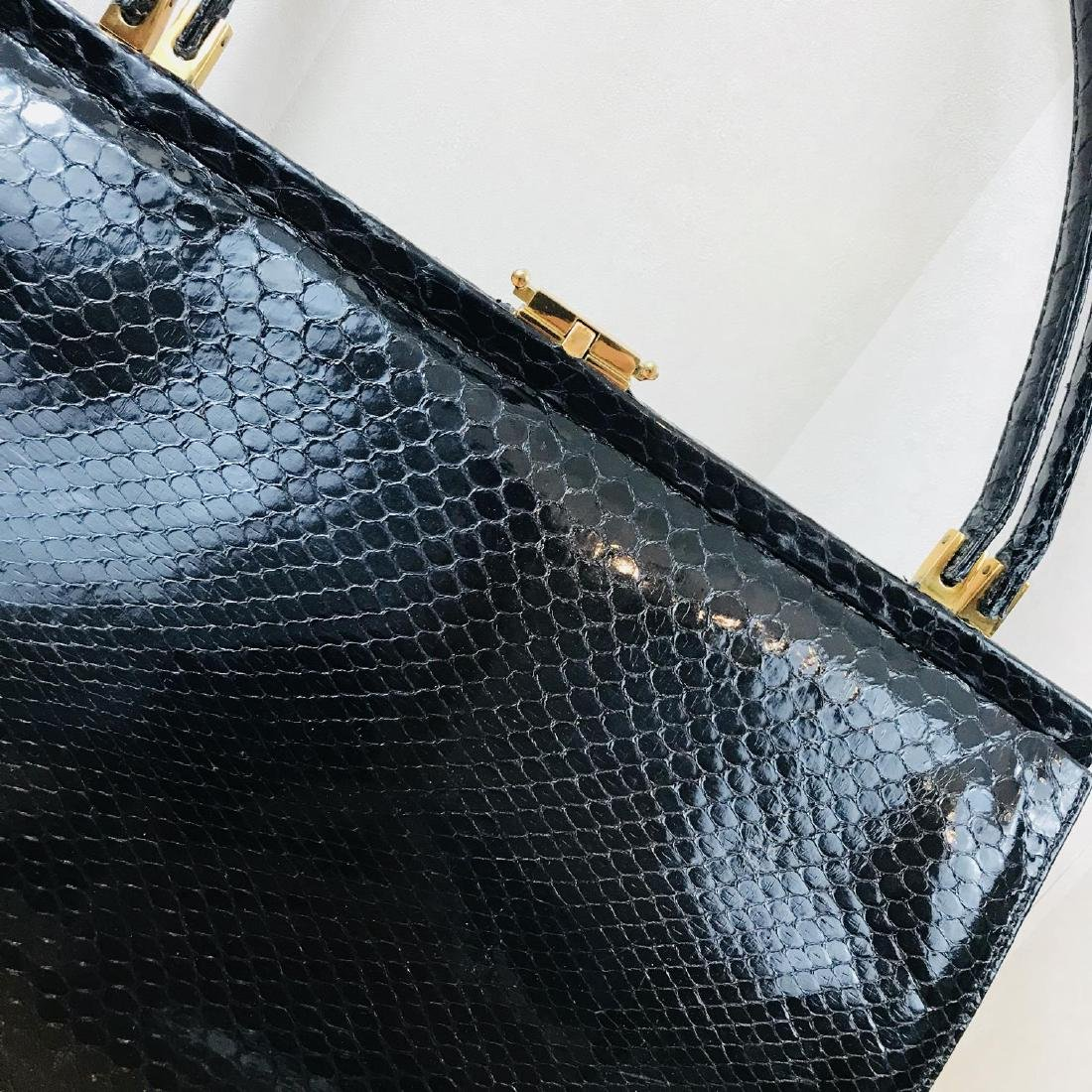 Vintage Black Snakeskin Leather Handbag - 3