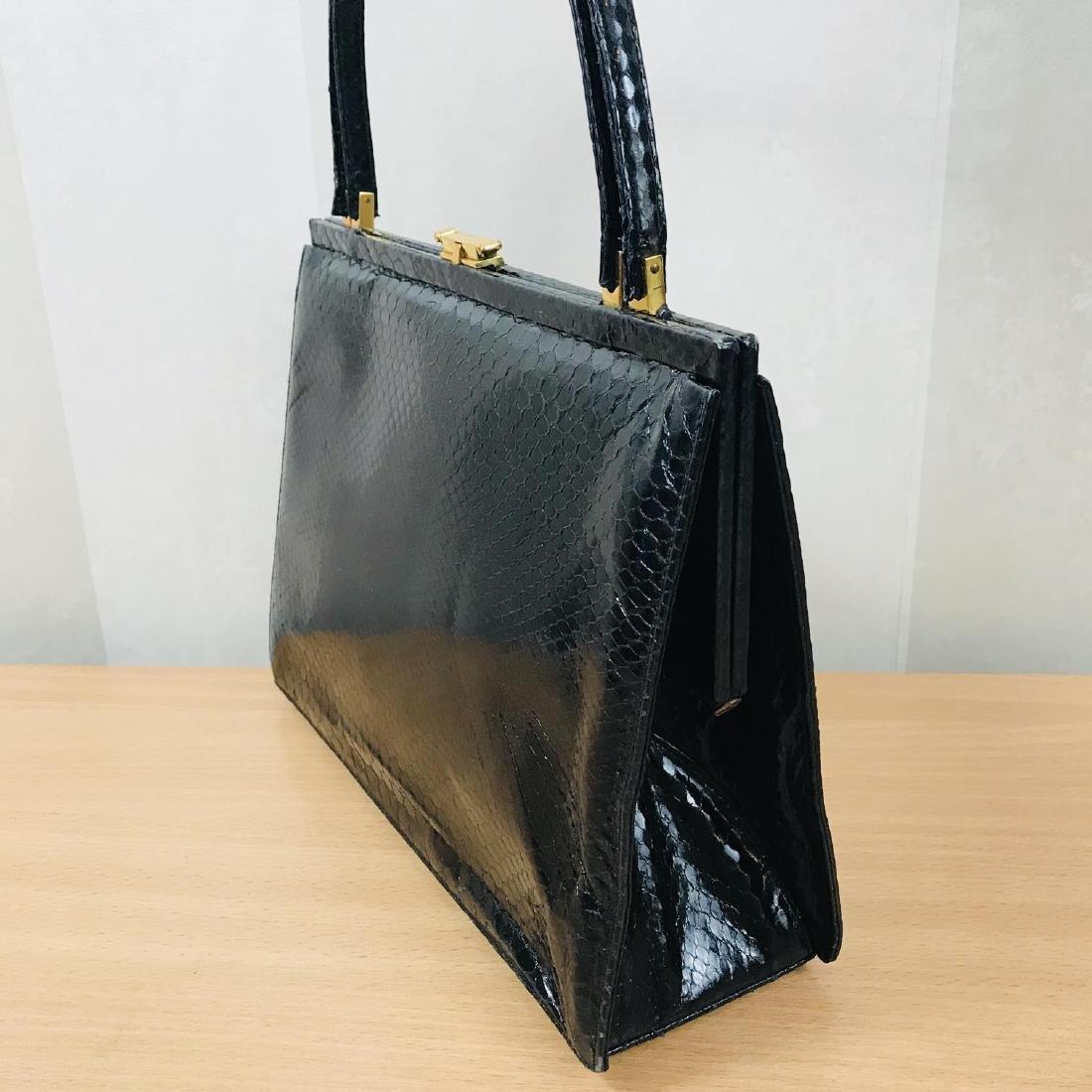 Vintage Black Snakeskin Leather Handbag - 4