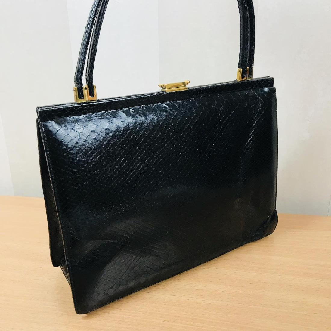 Vintage Black Snakeskin Leather Handbag - 5
