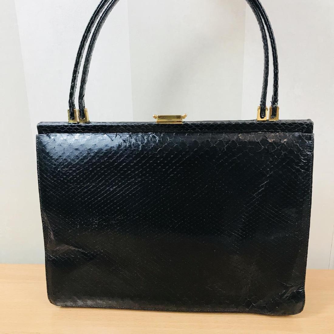 Vintage Black Snakeskin Leather Handbag - 6