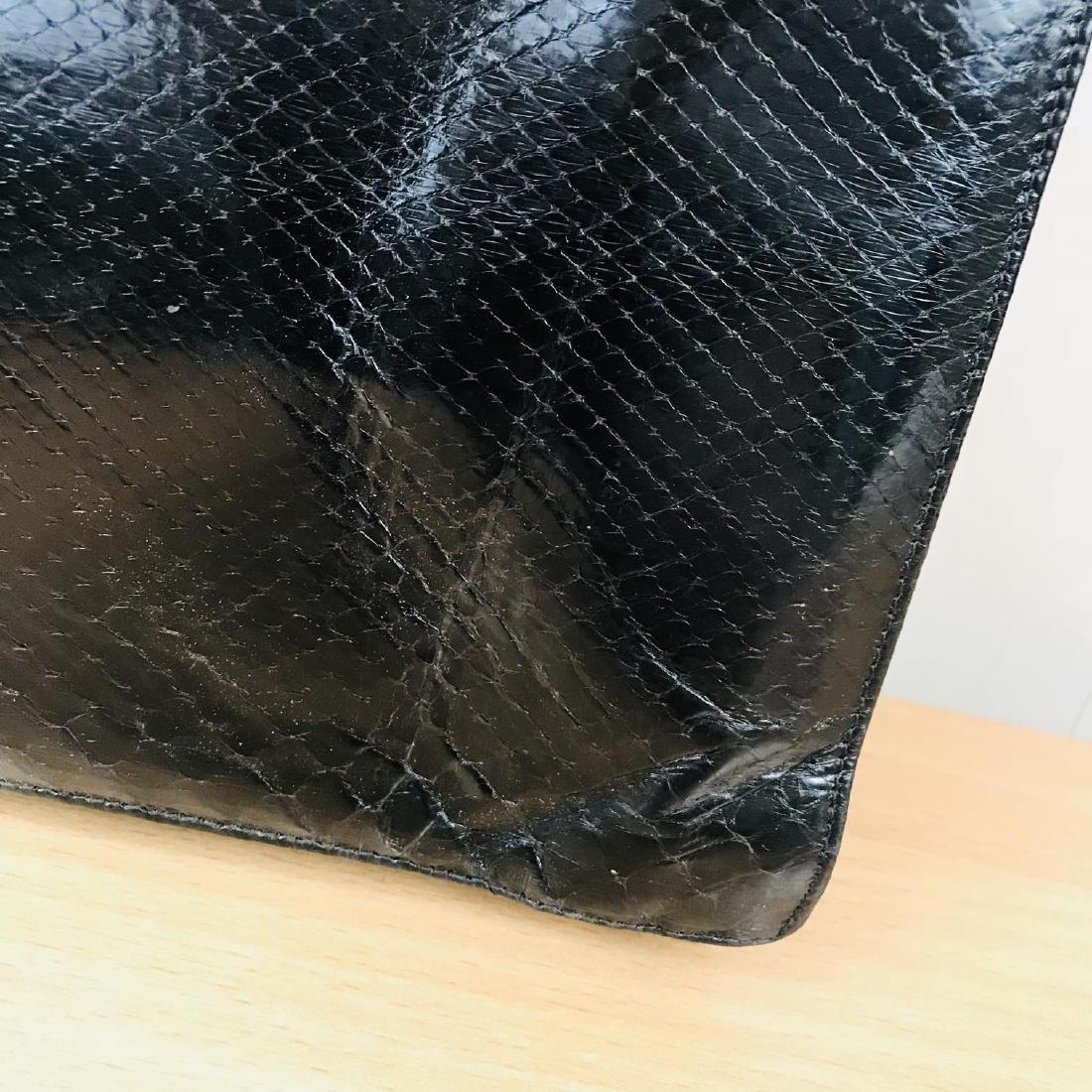 Vintage Black Snakeskin Leather Handbag - 7