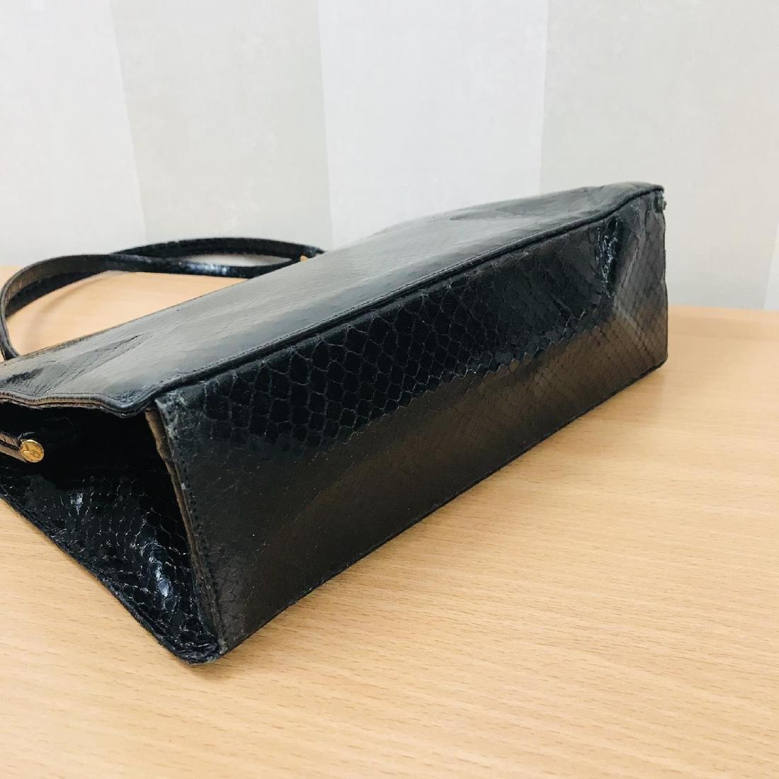 Vintage Black Snakeskin Leather Handbag - 8