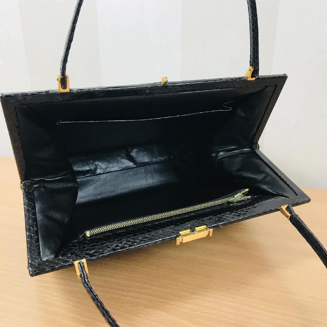 Vintage Black Snakeskin Leather Handbag - 9