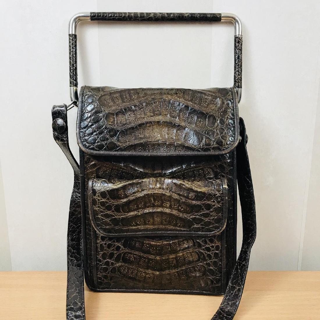 Vintage Brown Crocodile Leather Shoulder Bag / Handbag