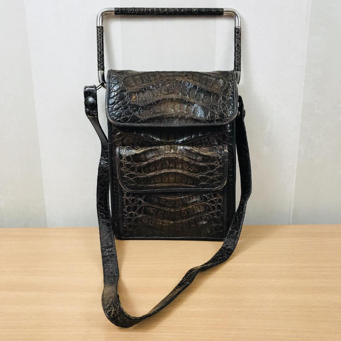 Vintage Brown Crocodile Leather Shoulder Bag / Handbag - 2