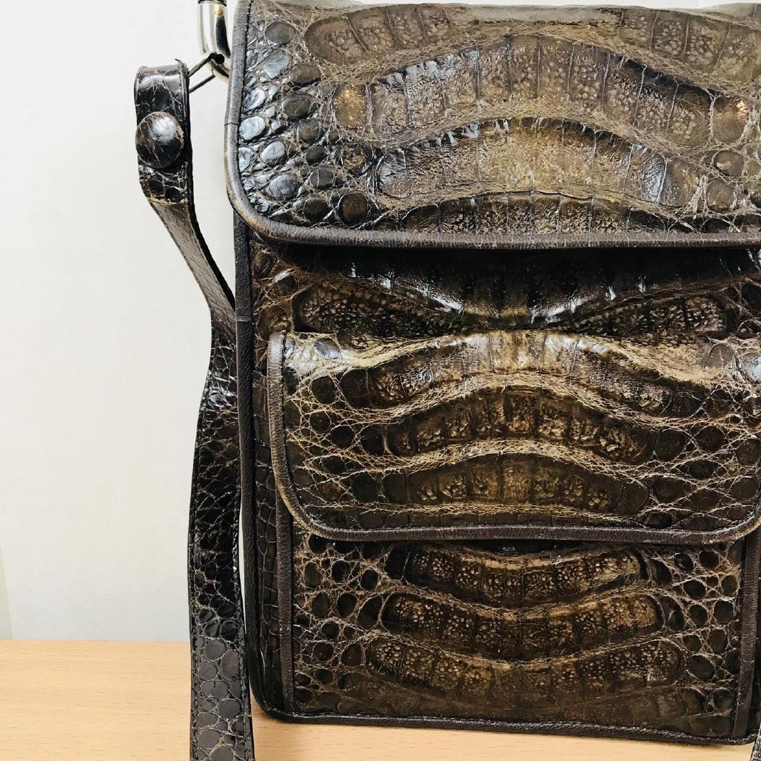 Vintage Brown Crocodile Leather Shoulder Bag / Handbag - 3