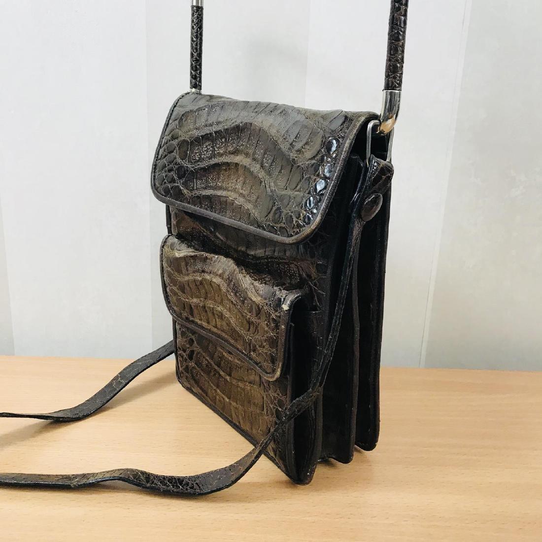 Vintage Brown Crocodile Leather Shoulder Bag / Handbag - 4