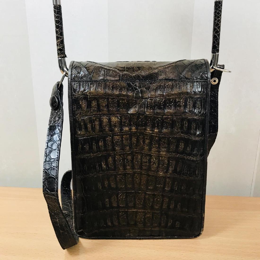 Vintage Brown Crocodile Leather Shoulder Bag / Handbag - 6