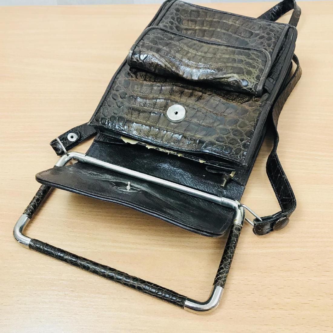 Vintage Brown Crocodile Leather Shoulder Bag / Handbag - 7