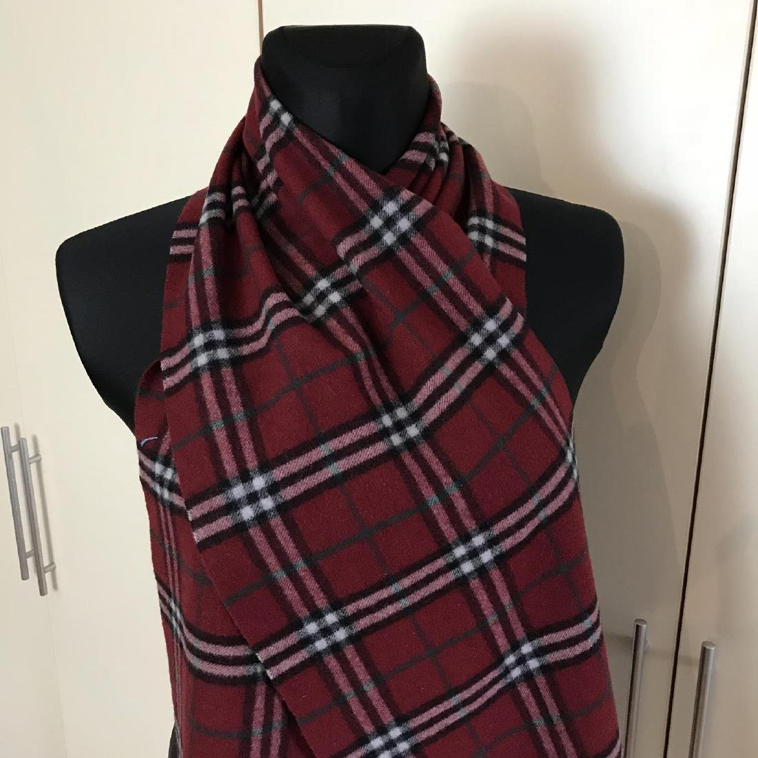 Burberry 100% Lambswool Bordeaux Nova Check Scarf - 3