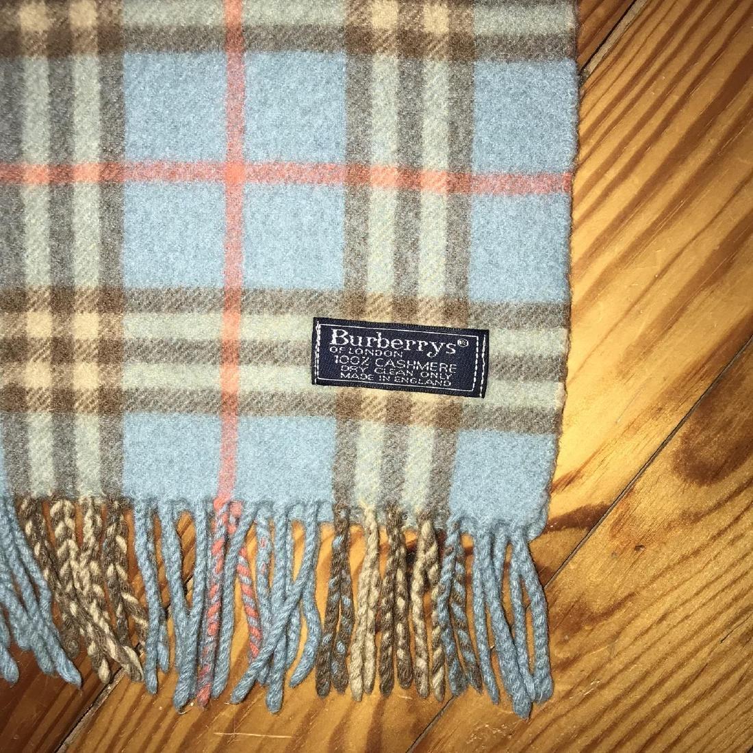 Burberry 100% Cashmere Blue Nova Check Scarf - 5