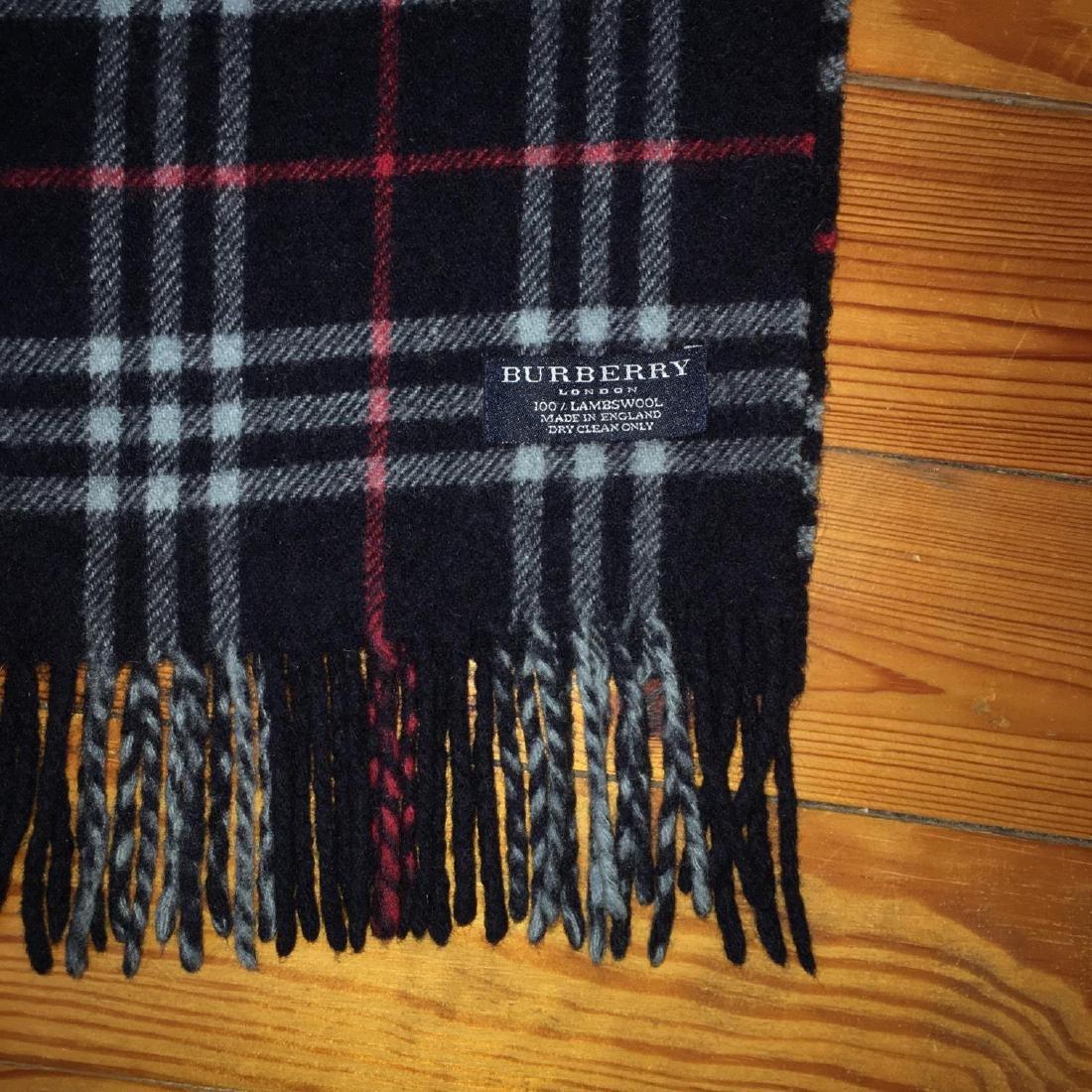 Burberry 100% Lambswool Dark Blue Nova Check Scarf - 4