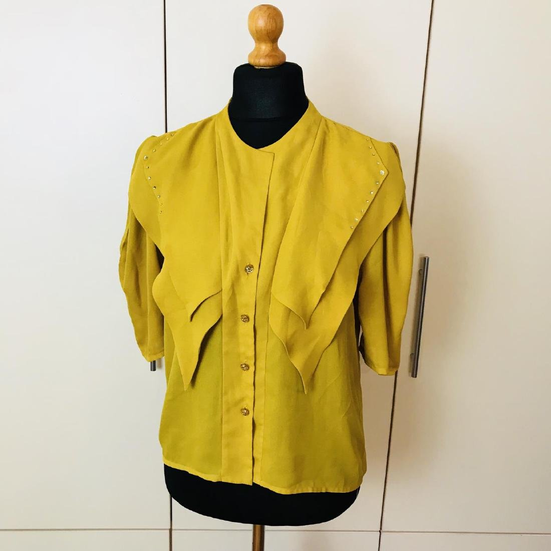 Vintage Women's Yellow Blouse Shirt Top Size EUR 40 US