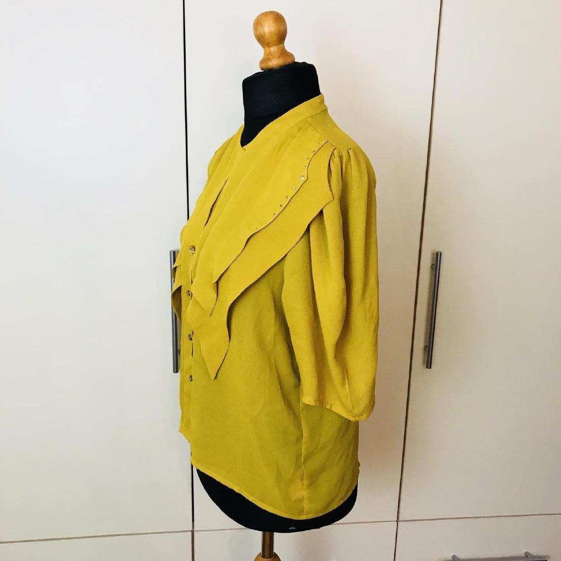 Vintage Women's Yellow Blouse Shirt Top Size EUR 40 US - 3