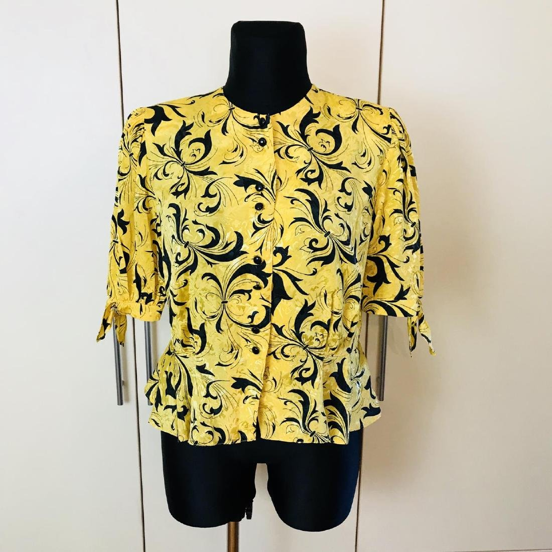 Vintage Women's Yellow Blouse Shirt Top Size EUR 46 US