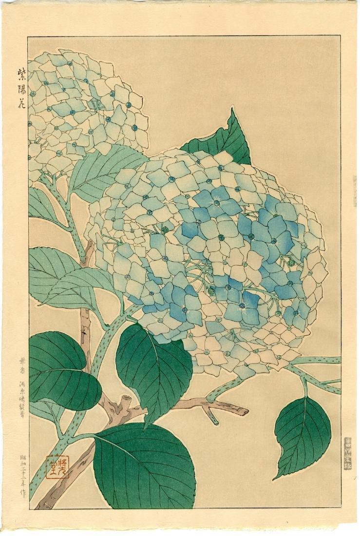 Shodo Kawarazaki Woodblock Hydrangea