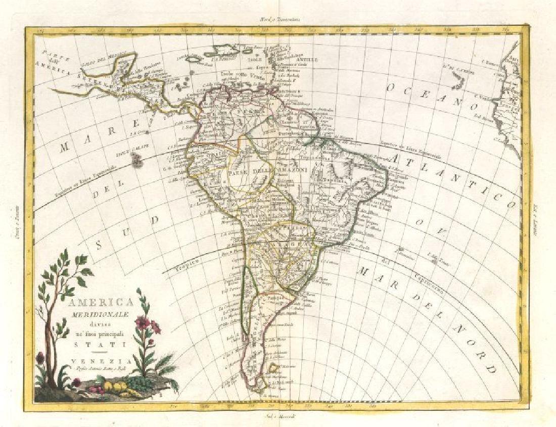 """""""America Meridionale divisa"""". South America . ZATTA"""