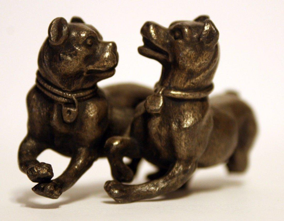 Antique 1800's Cold Painted Bronze ~ Playing Dogs with