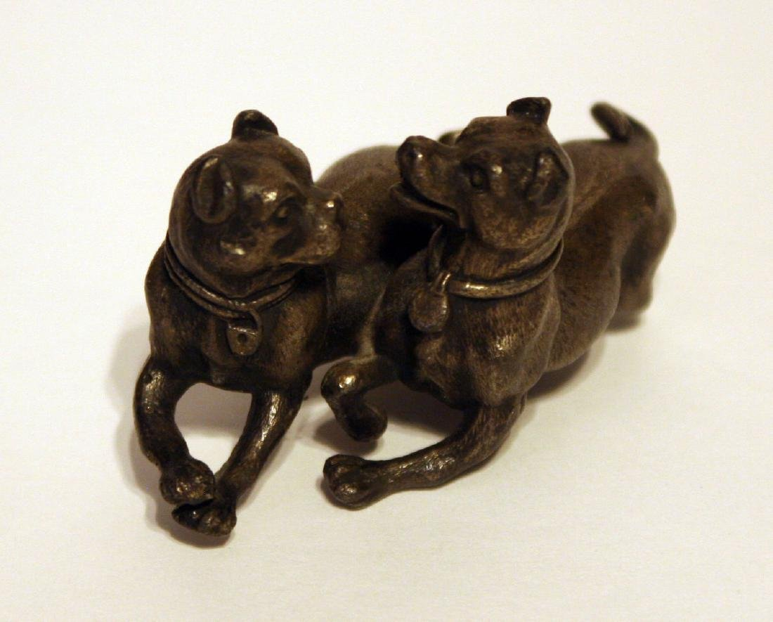 Antique 1800's Cold Painted Bronze ~ Playing Dogs with - 3