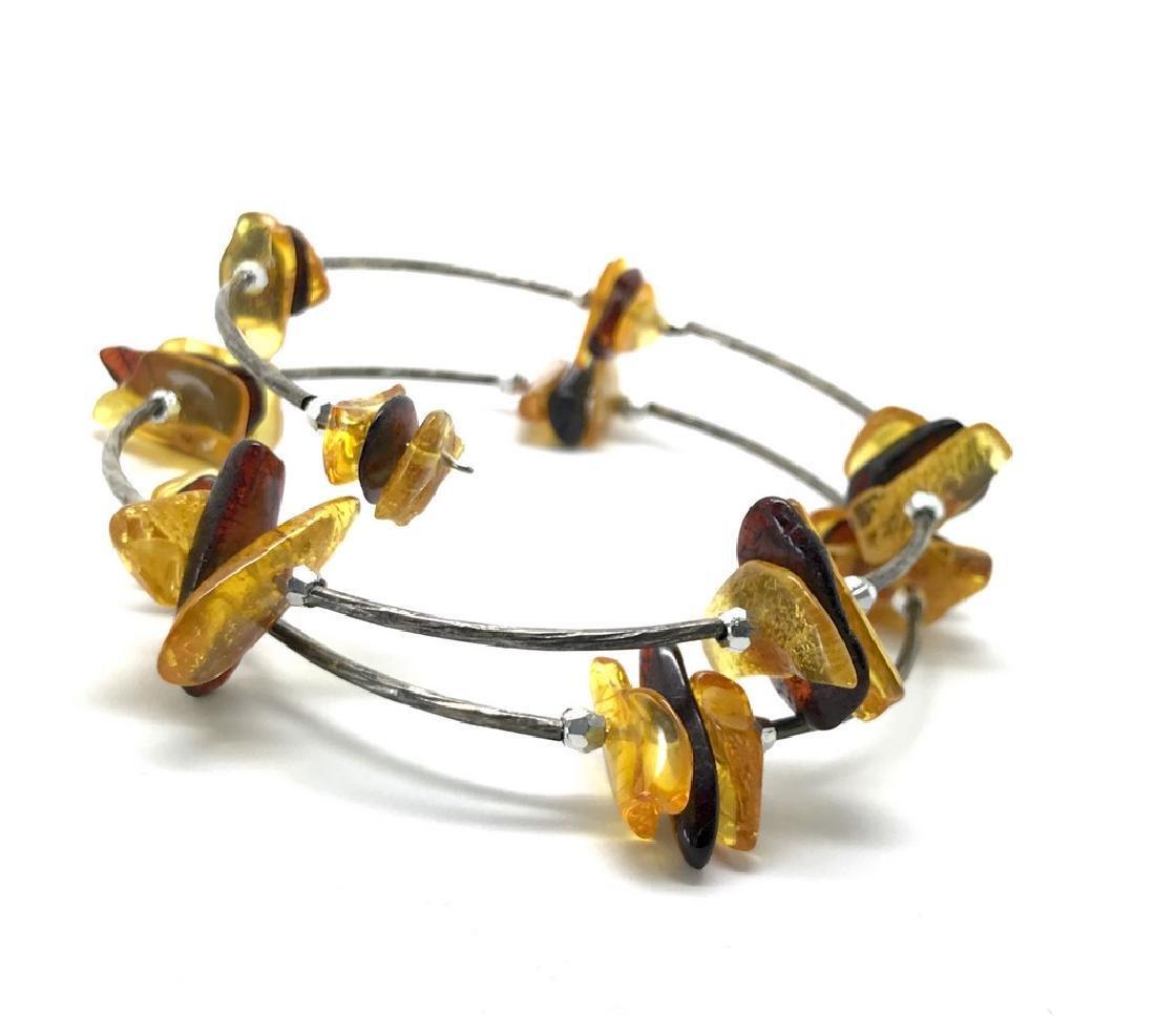 Baltic amber spiral bracelet bicolour beads 9-18mm