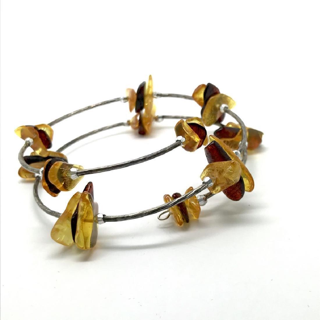Baltic amber spiral bracelet bicolour beads 9-18mm - 2