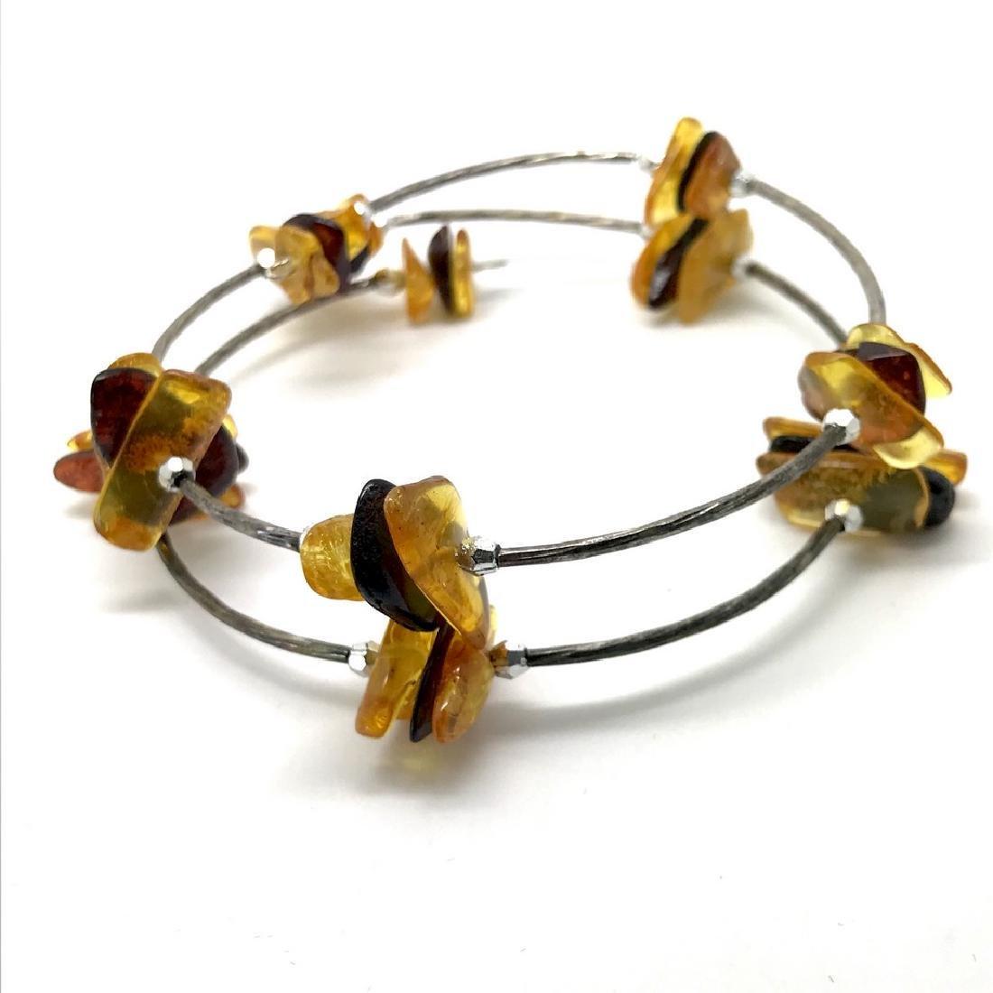 Baltic amber spiral bracelet bicolour beads 9-18mm - 4