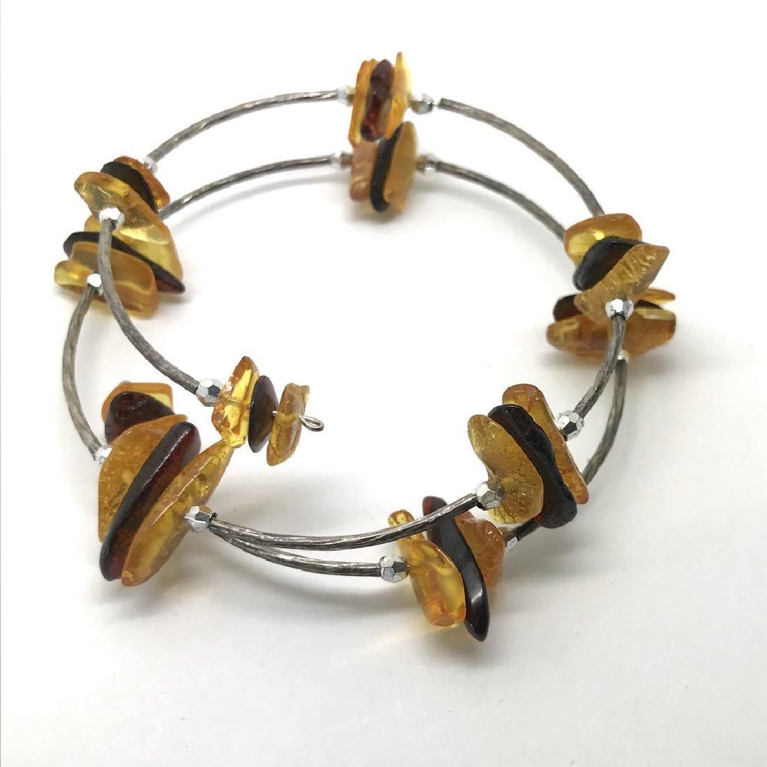 Baltic amber spiral bracelet bicolour beads 9-18mm - 5