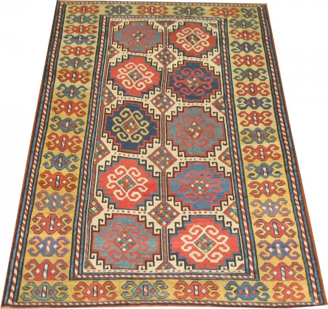 Antique Caucasian Kazak Shirvan Gendje Moghan Rug 4.5x7