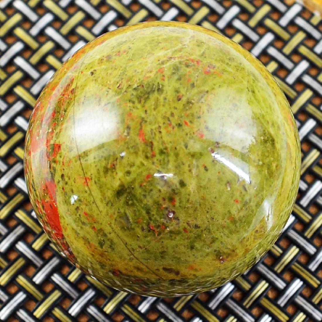 Blood Green Unakite Healing Ball - 2