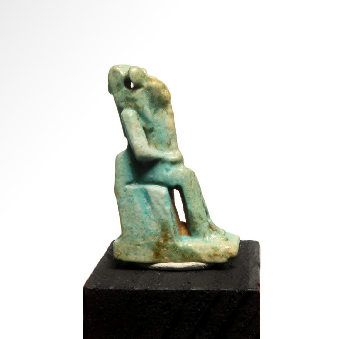 Egyptian Faience Amulet of the Lioness Deity Sekhmet, - 2