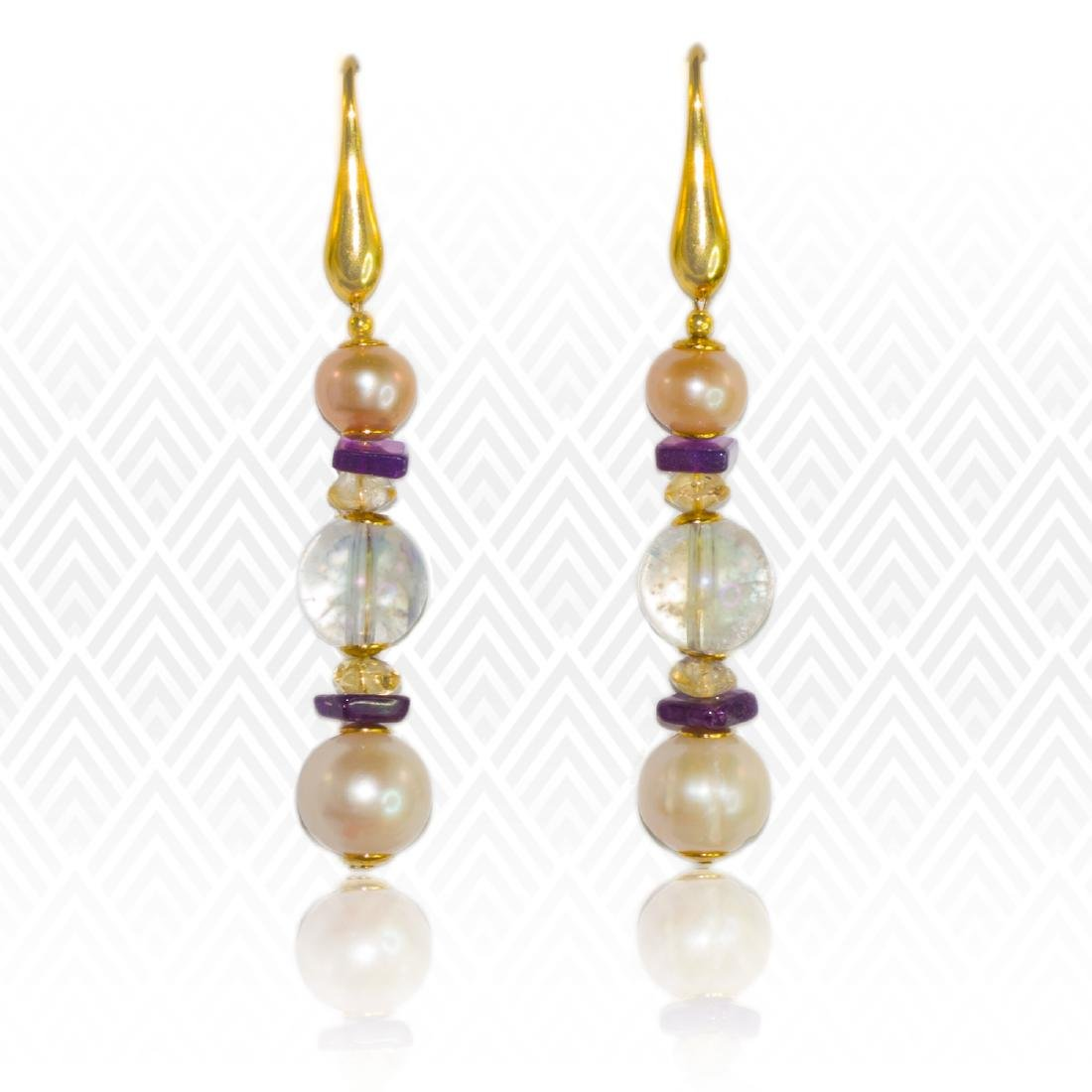 Sea Treasure' Pearl and Mystic topaz Earrings