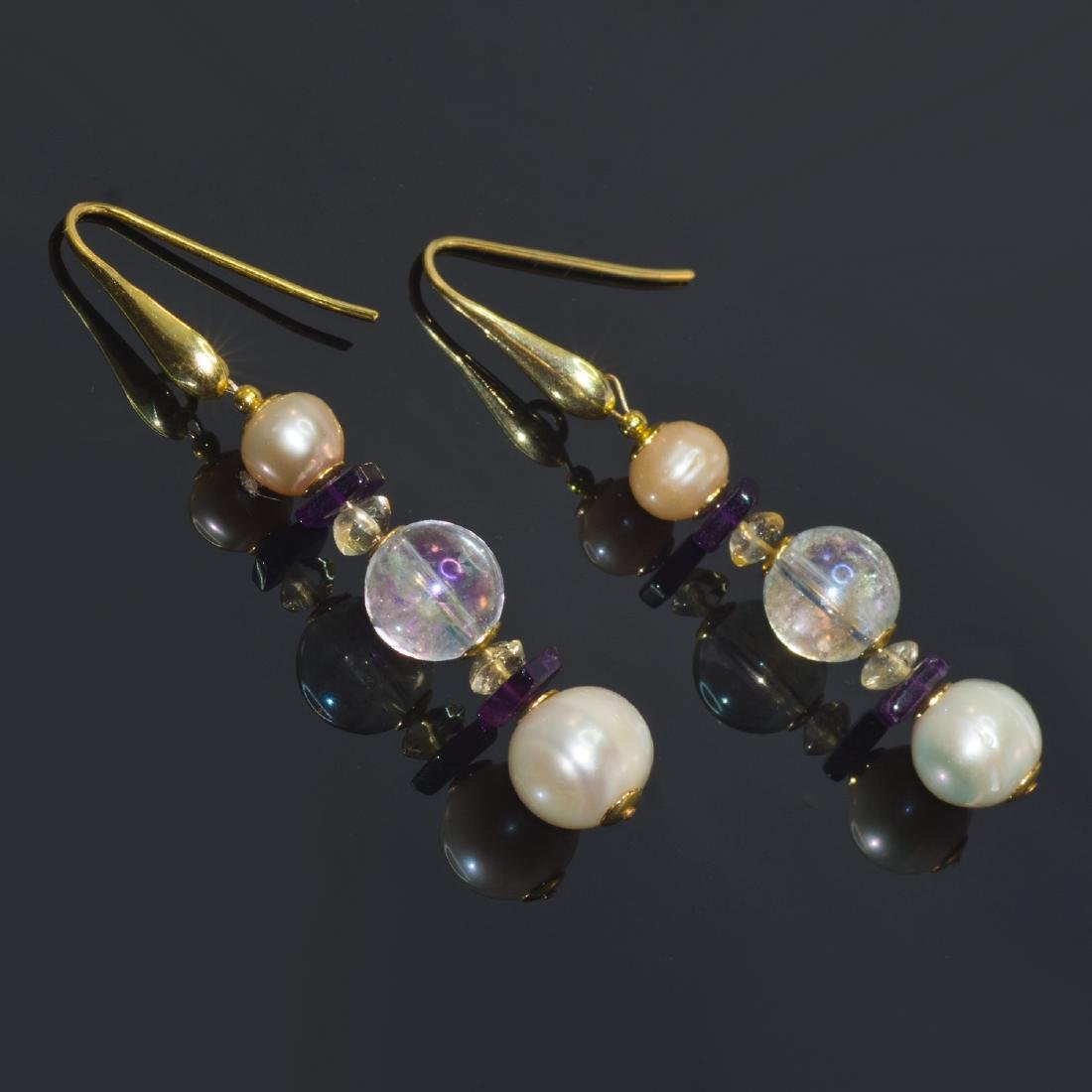Sea Treasure' Pearl and Mystic topaz Earrings - 2