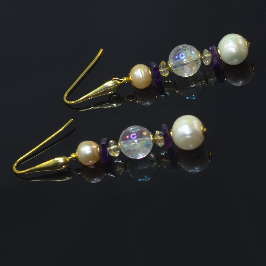 Sea Treasure' Pearl and Mystic topaz Earrings - 3