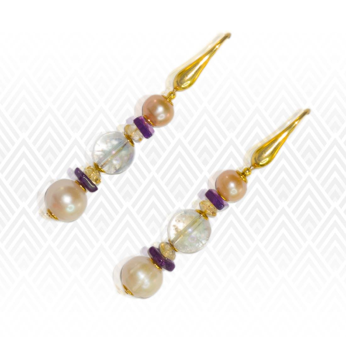 Sea Treasure' Pearl and Mystic topaz Earrings - 4