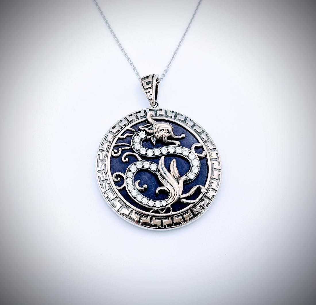 Sterling Silver Necklace and Dragon Designed Pendant