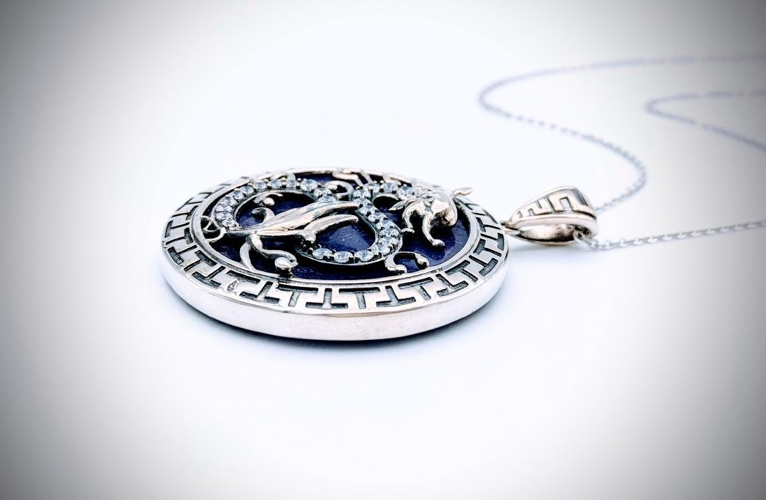 Sterling Silver Necklace and Dragon Designed Pendant - 4