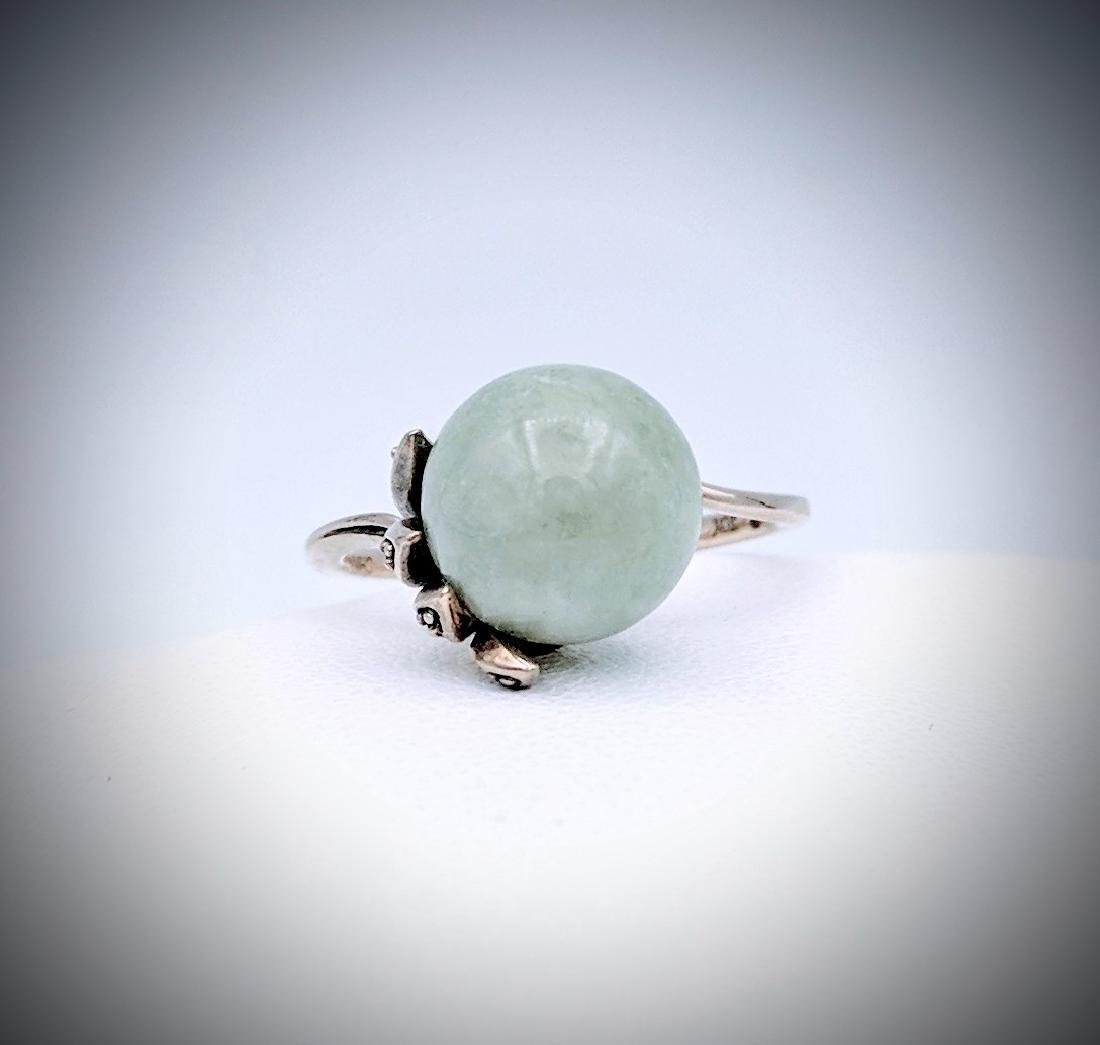 Sterling Silver Jade and CZ Ring Size 7