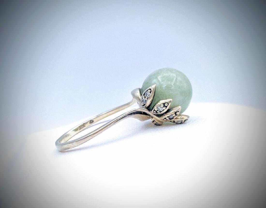 Sterling Silver Jade and CZ Ring Size 7 - 3