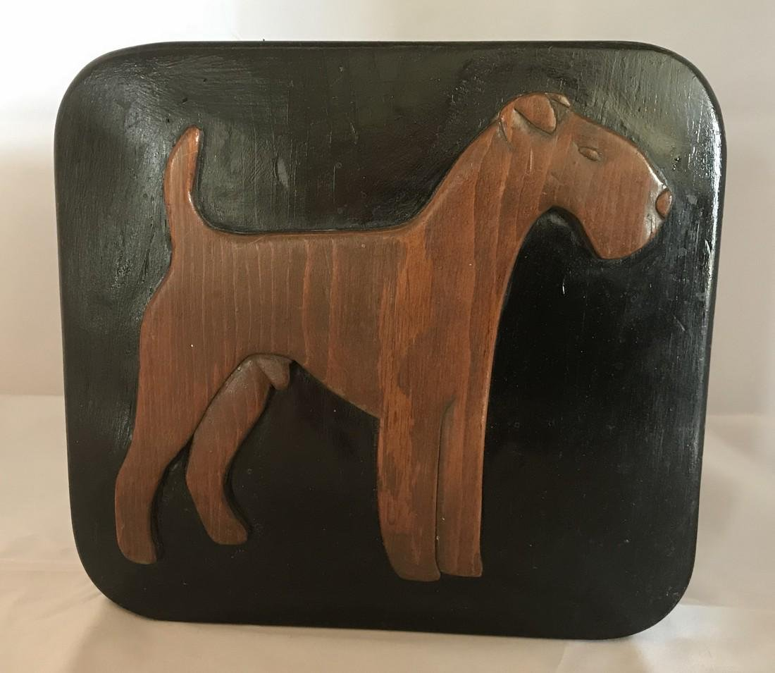 Folk art Mid 20th Century Airedale Plaque