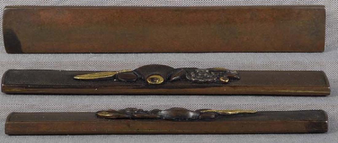19c Japanese sword KOZUKA peony & TEA CEREMONY items - 2