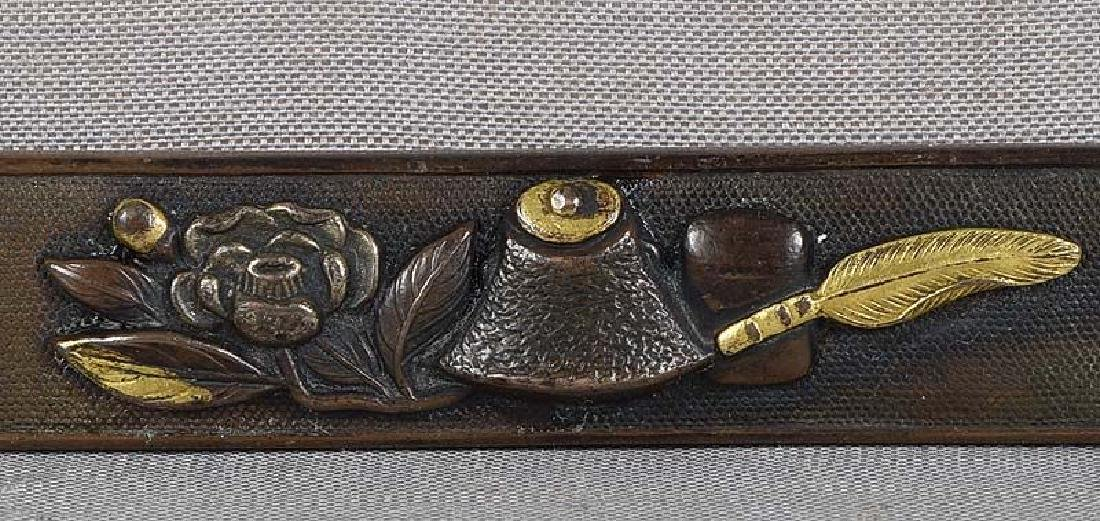 19c Japanese sword KOZUKA peony & TEA CEREMONY items - 3