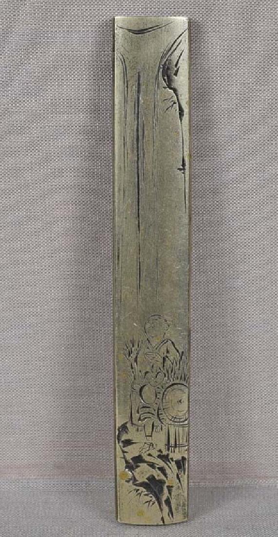 19c Japanese sword paktong KOZUKA pilgrim at Kirifuri