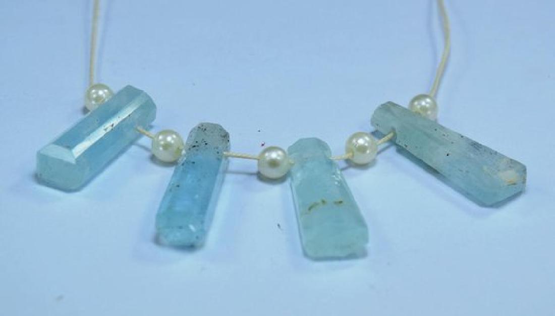 04 Pieces Top Grade Natural Sky Blue Color Aquamarine