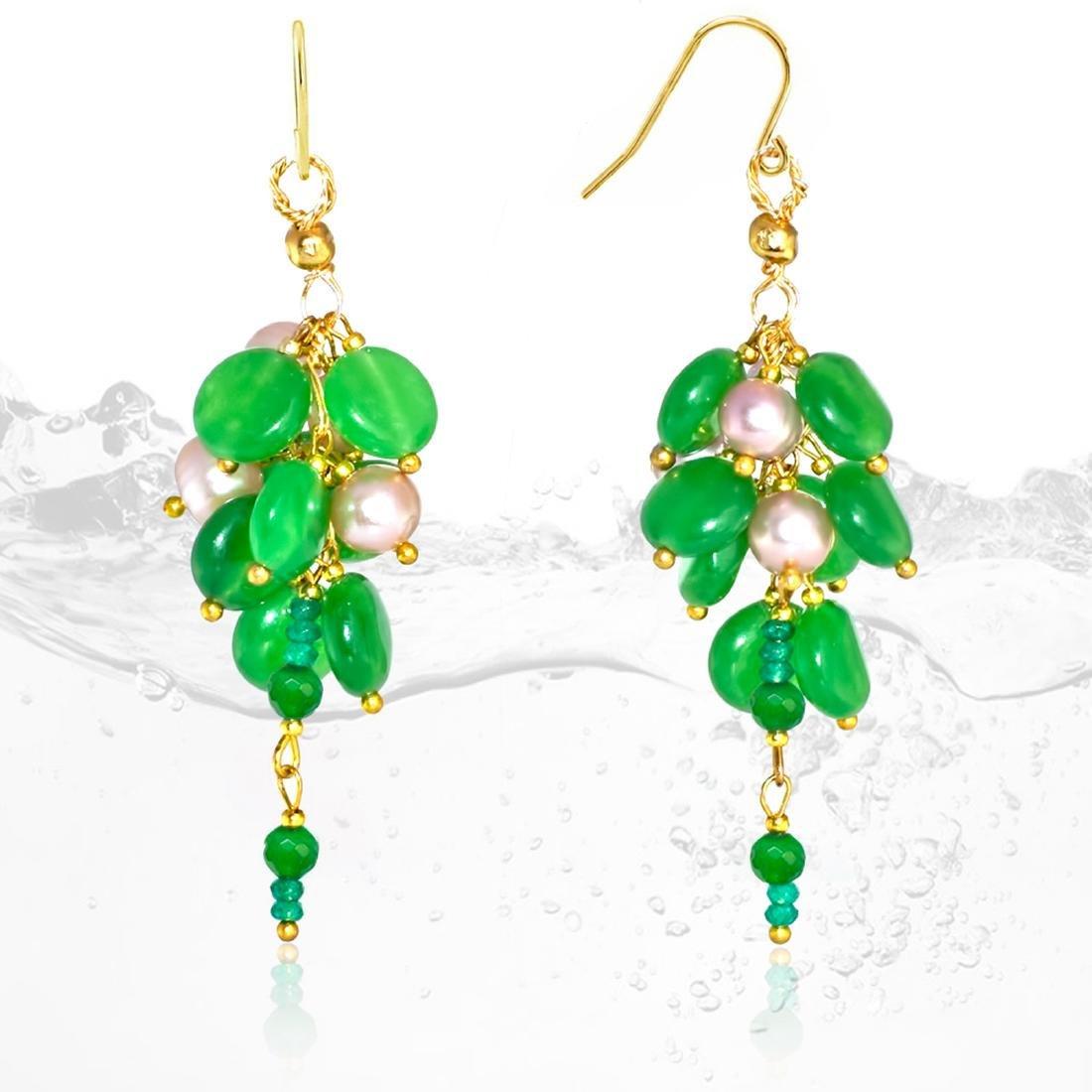 14K 'Cluster' Earrings with Imperial Jadeite Jade and